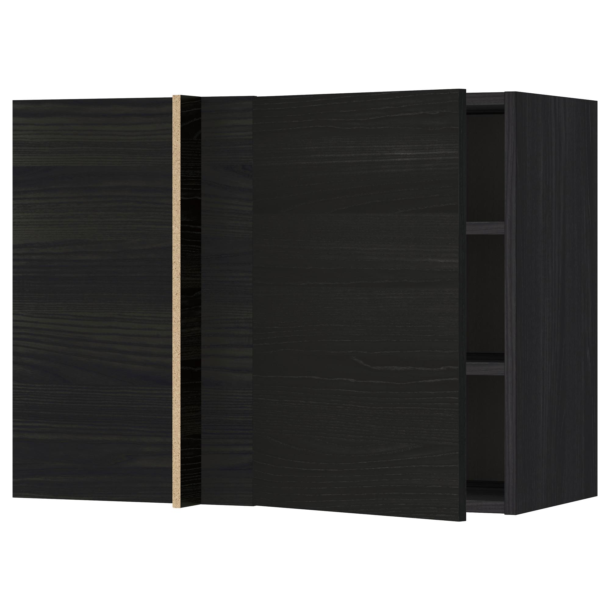 Угловой навесной шкаф с полками МЕТОД черный артикуль № 292.248.58 в наличии. Интернет магазин IKEA Минск. Недорогая доставка и соборка.
