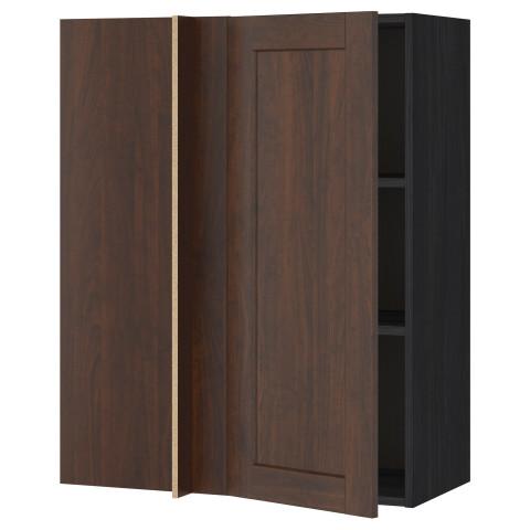 Угловой навесной шкаф с полками МЕТОД черный артикуль № 592.263.99 в наличии. Интернет сайт IKEA Минск. Недорогая доставка и монтаж.