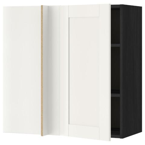Угловой навесной шкаф с полками МЕТОД черный артикуль № 892.230.02 в наличии. Интернет сайт IKEA Минск. Недорогая доставка и соборка.