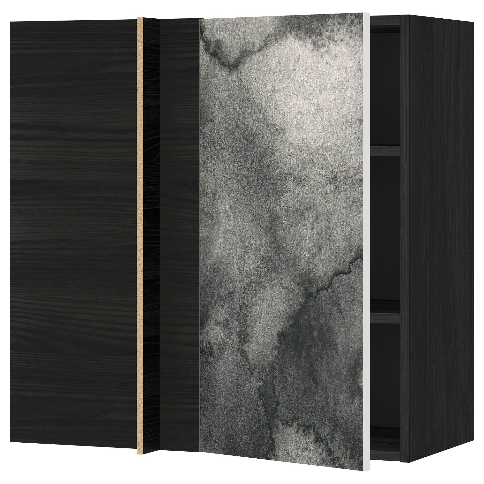 Угловой навесной шкаф с полками МЕТОД черный артикуль № 892.320.30 в наличии. Онлайн магазин IKEA РБ. Быстрая доставка и соборка.