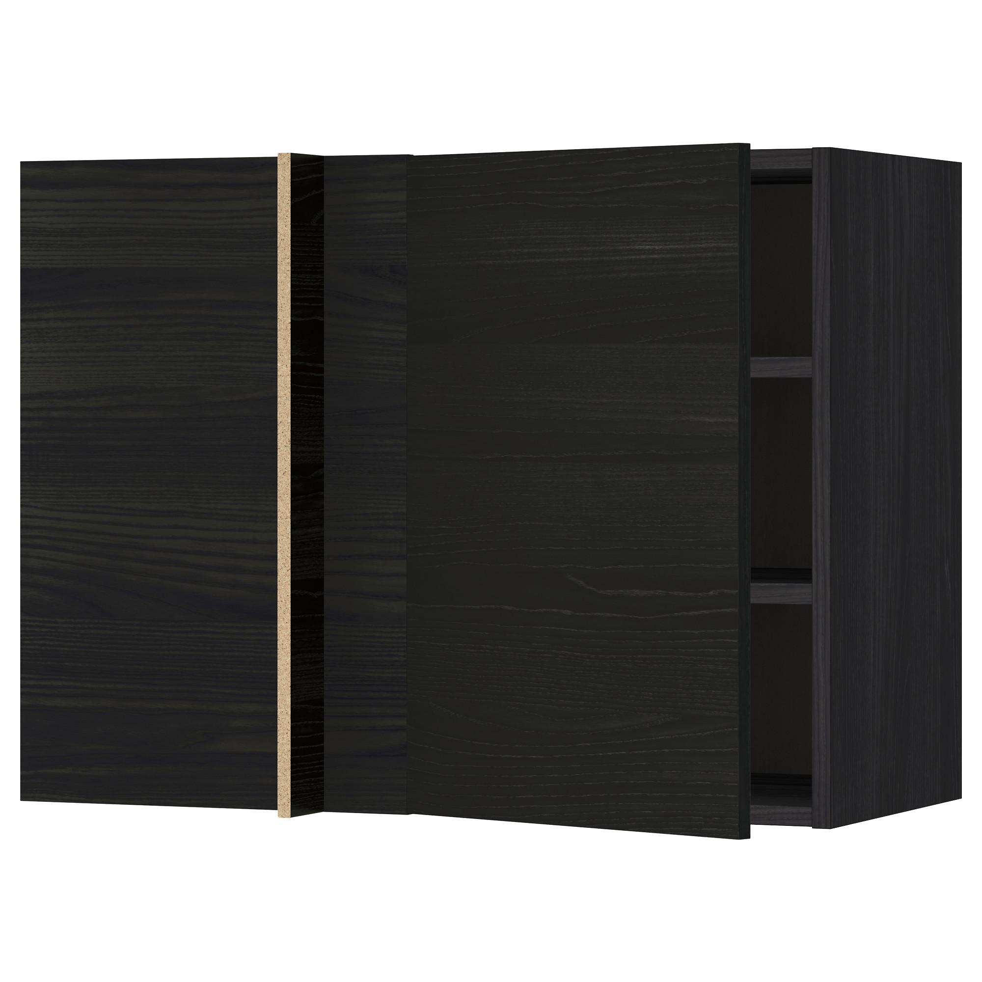 Угловой навесной шкаф с полками МЕТОД черный артикуль № 992.321.95 в наличии. Онлайн сайт IKEA Беларусь. Недорогая доставка и соборка.