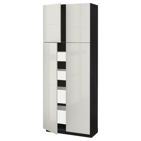 Высокий шкаф/4дверцы/4ящика МЕТОД / МАКСИМЕРА черный артикуль № 292.368.61 в наличии. Онлайн сайт IKEA РБ. Недорогая доставка и установка.