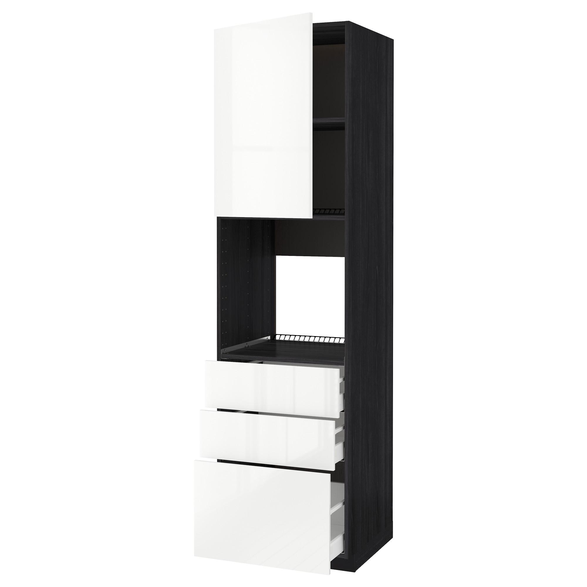 Высокий шкаф для духовки/дверь/3 ящика МЕТОД / МАКСИМЕРА черный артикуль № 592.371.52 в наличии. Интернет сайт ИКЕА РБ. Недорогая доставка и соборка.