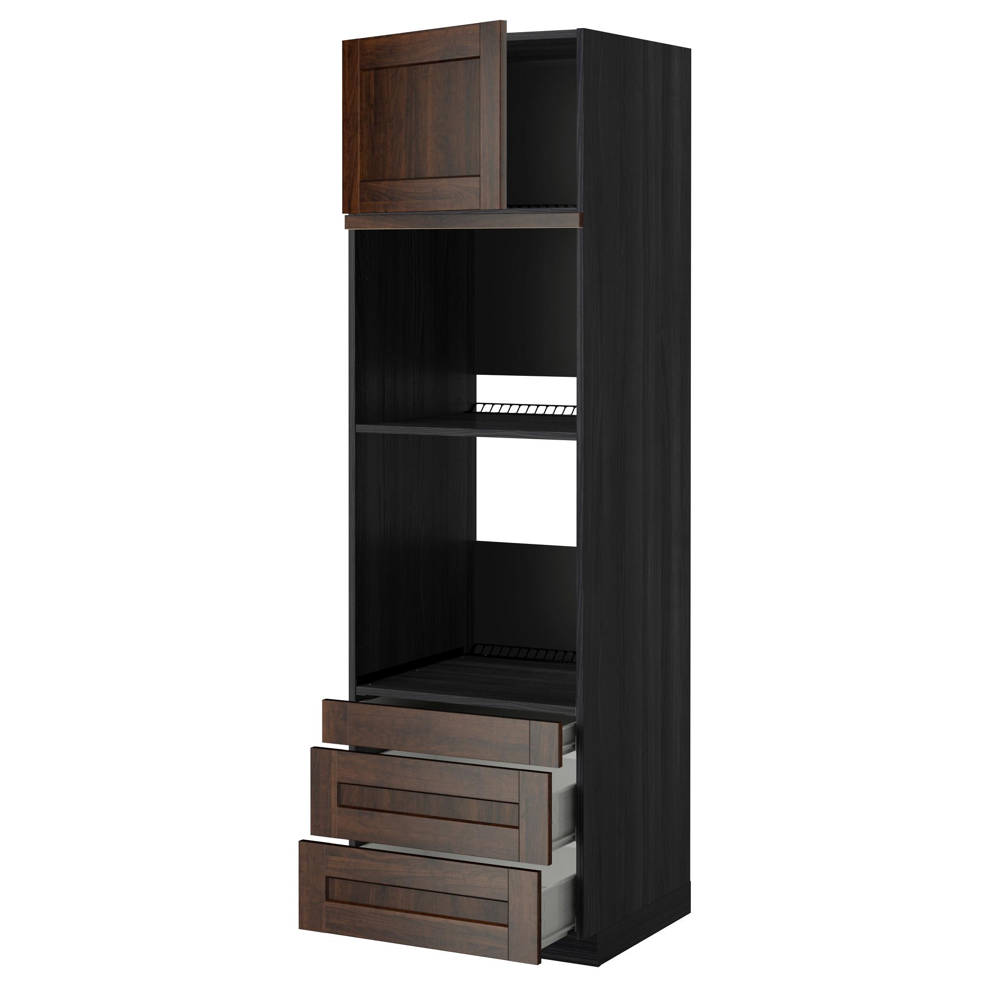 Высокий шкаф для духовки комбинированный, духовка + дверца, 3 ящика МЕТОД / ФОРВАРА черный артикуль № 092.618.42 в наличии. Онлайн каталог IKEA Республика Беларусь. Недорогая доставка и монтаж.