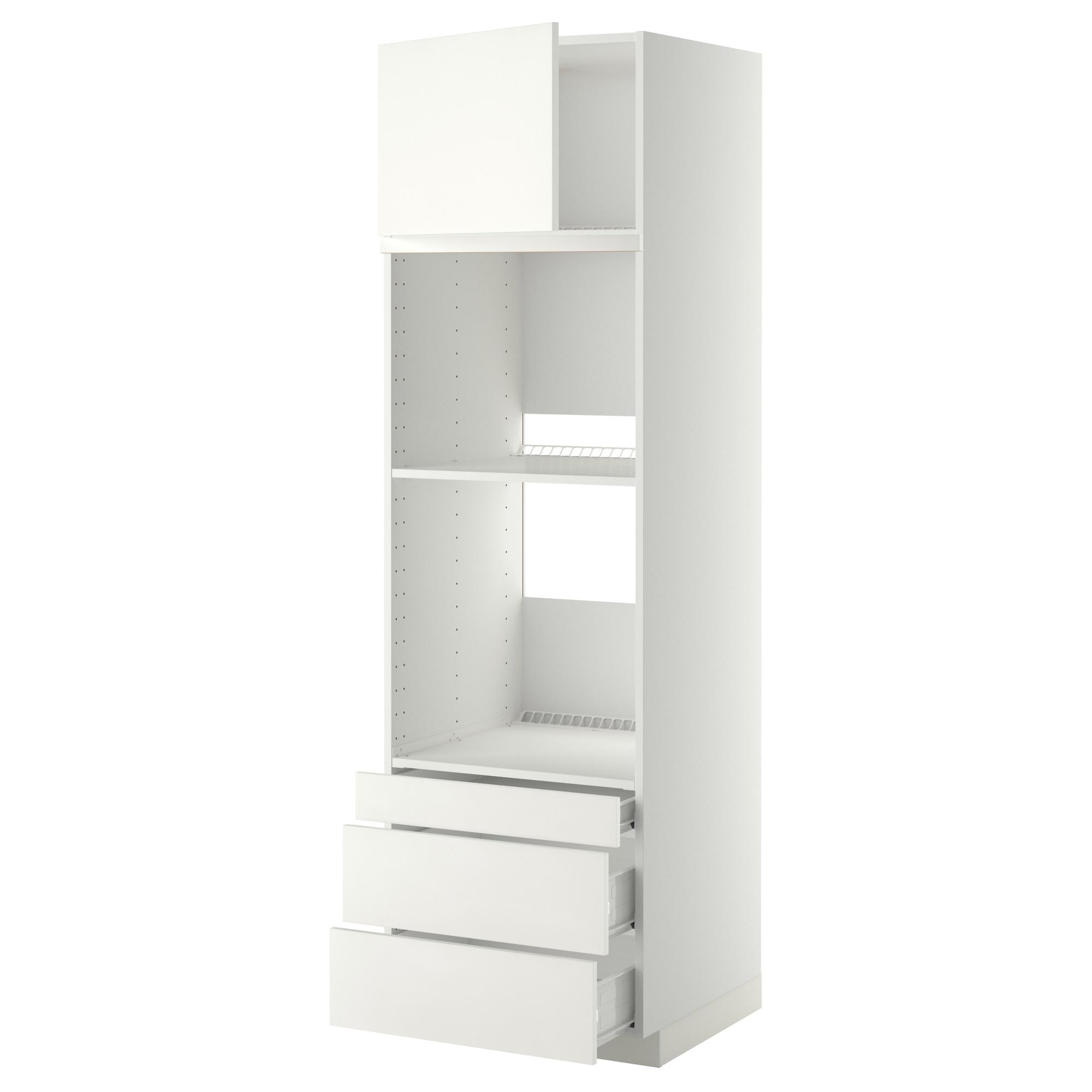 Высокий шкаф для духовки комбинированный, духовка + дверца, 3 ящика МЕТОД / ФОРВАРА белый артикуль № 692.621.22 в наличии. Онлайн магазин IKEA Республика Беларусь. Недорогая доставка и установка.