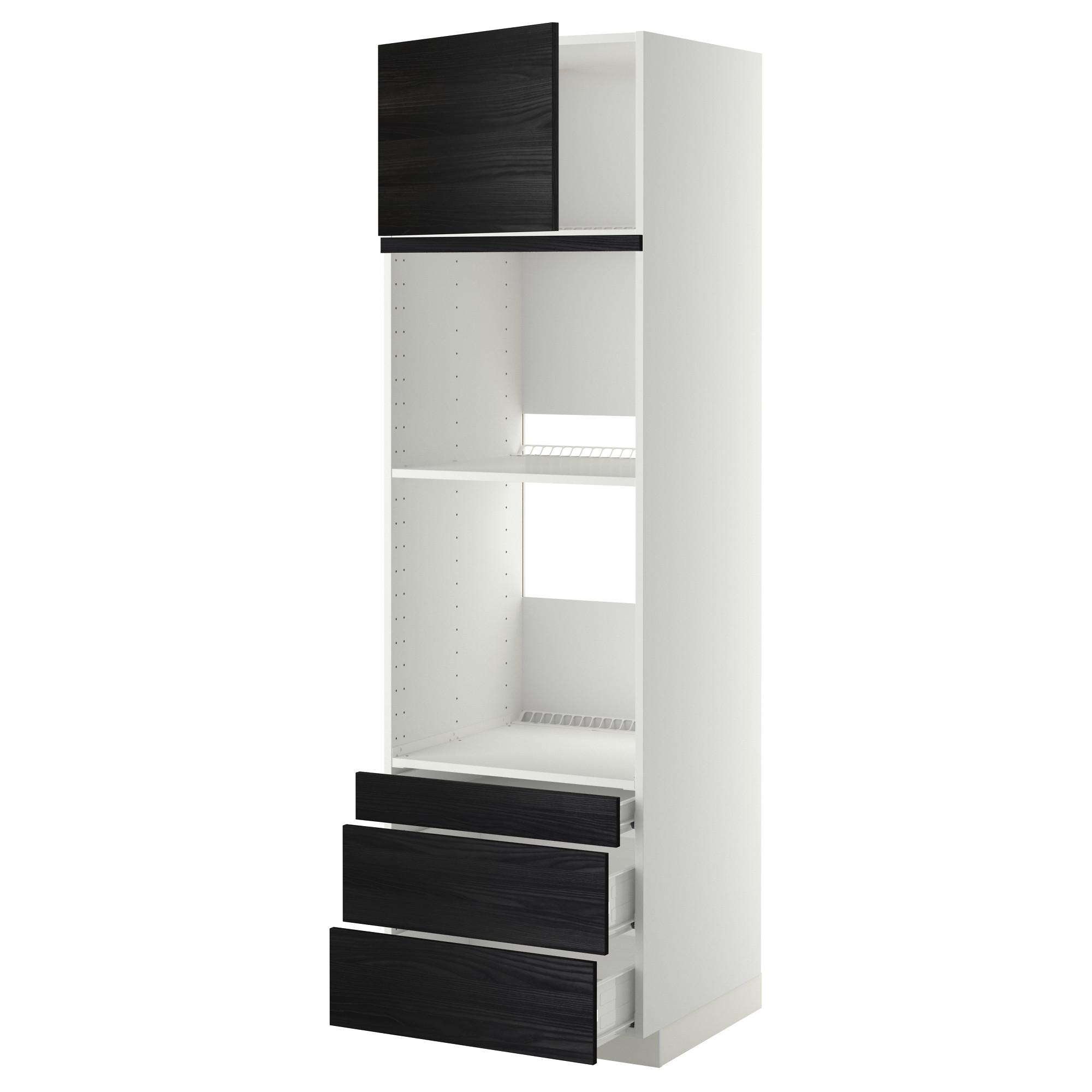 Высокий шкаф для духовки комбинированный, духовка + дверца, 3 ящика МЕТОД / ФОРВАРА черный артикуль № 992.674.44 в наличии. Интернет магазин IKEA РБ. Недорогая доставка и монтаж.