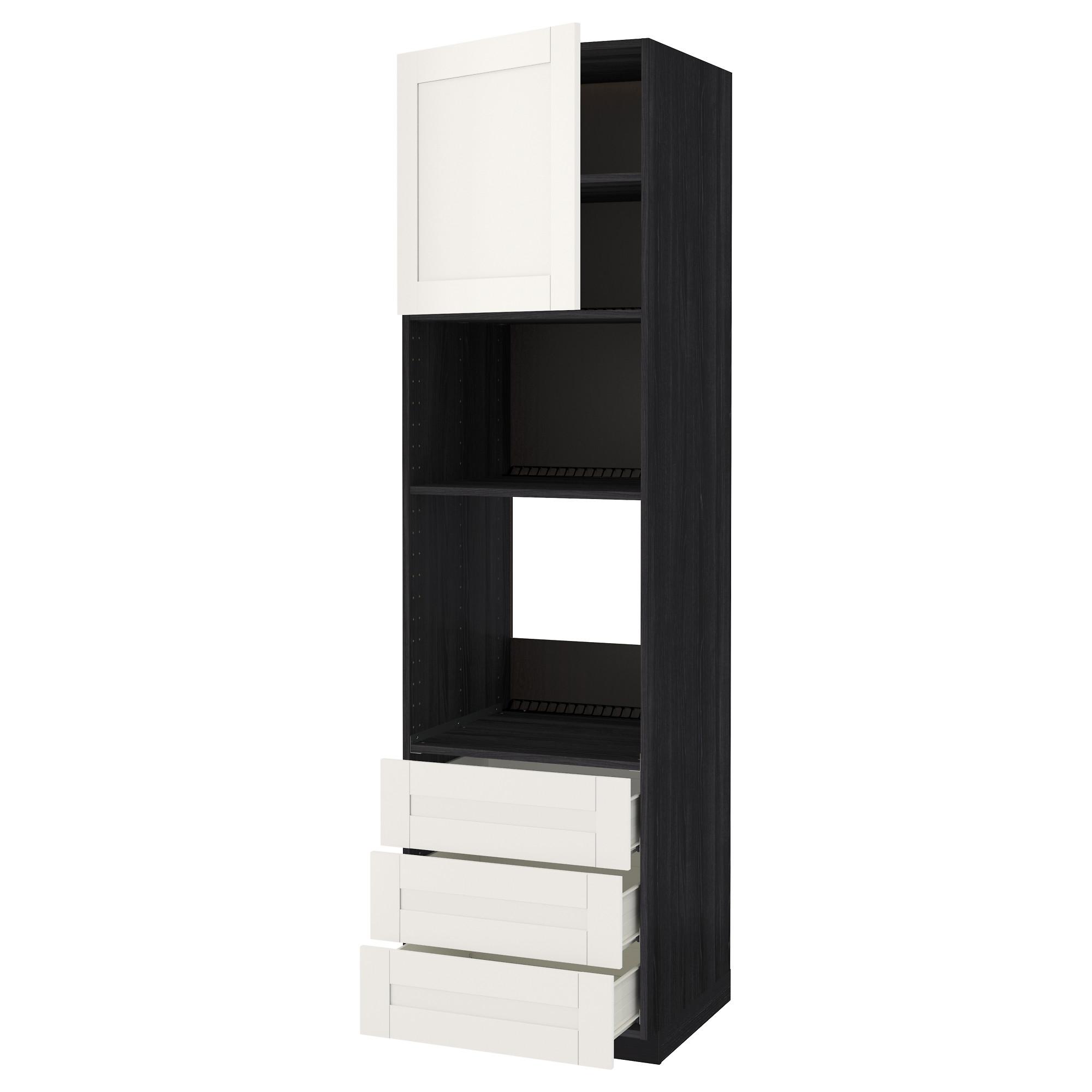 Высокий шкаф для духовки/СВЧ дверца, 3 ящика МЕТОД / ФОРВАРА черный артикуль № 392.658.72 в наличии. Online магазин IKEA РБ. Быстрая доставка и монтаж.
