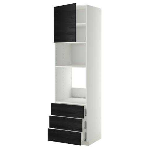 Высокий шкаф для духовки/СВЧ дверца, 3 ящика МЕТОД / ФОРВАРА черный артикуль № 392.674.42 в наличии. Онлайн магазин IKEA Минск. Недорогая доставка и соборка.