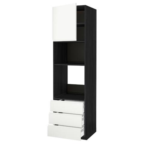 Высокий шкаф для духовки/СВЧ дверца, 3 ящика МЕТОД / МАКСИМЕРА черный артикуль № 892.390.22 в наличии. Онлайн магазин IKEA Беларусь. Быстрая доставка и монтаж.