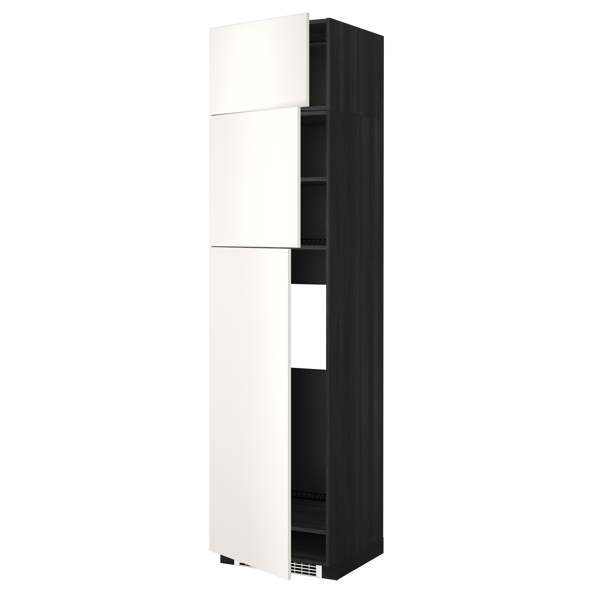 Высокий шкаф для холодильника, 3 дверцы МЕТОД черный артикуль № 292.244.91 в наличии. Онлайн каталог IKEA Минск. Недорогая доставка и установка.