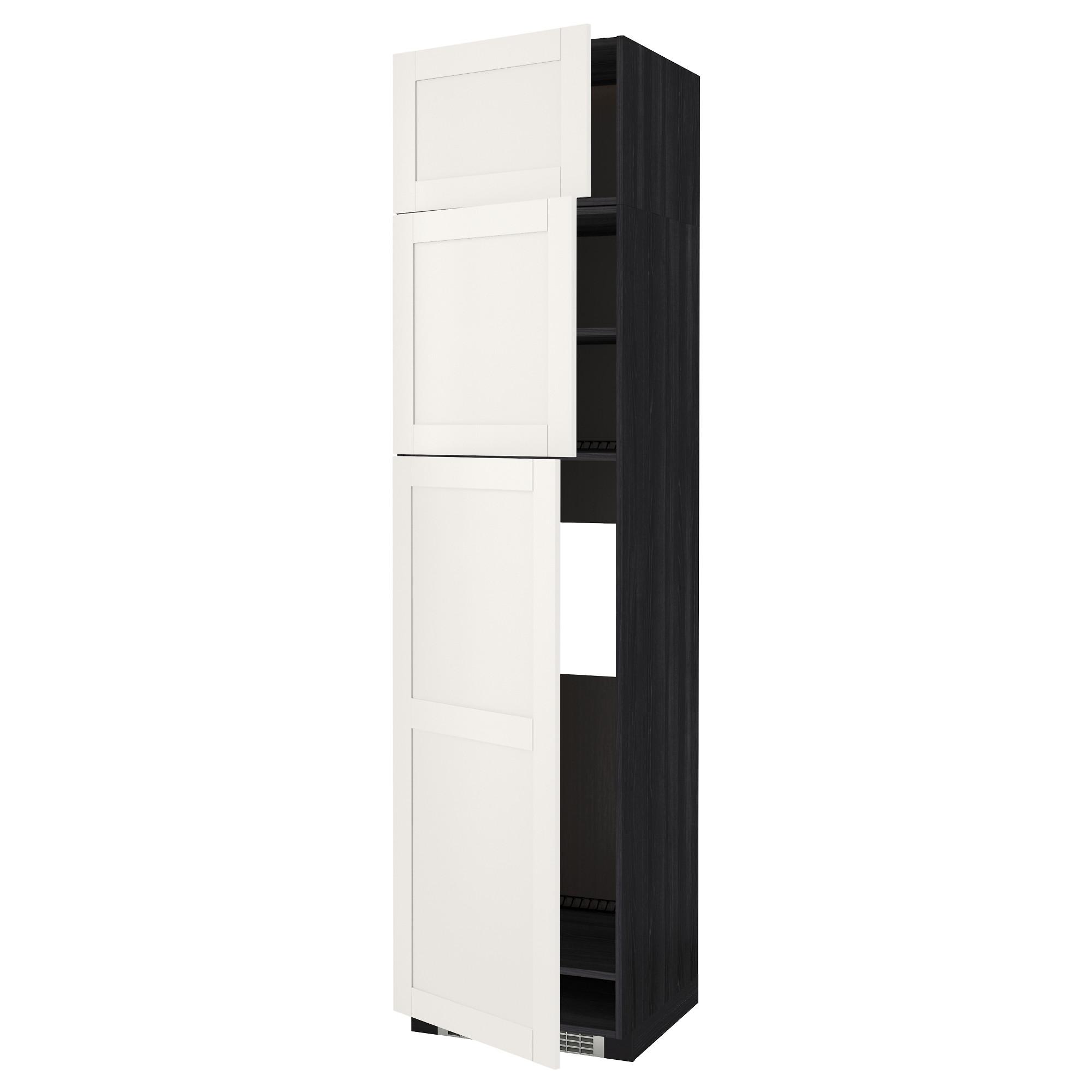 Высокий шкаф для холодильника, 3 дверцы МЕТОД черный артикуль № 392.232.88 в наличии. Интернет сайт IKEA РБ. Недорогая доставка и монтаж.