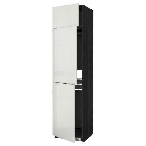 Высокий шкаф для холодильника или морозильника, с 3 дверями МЕТОД черный артикуль № 492.331.16 в наличии. Онлайн магазин IKEA РБ. Недорогая доставка и монтаж.