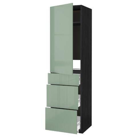Высокий шкаф для холодильника, с дверцами, 3 ящика МЕТОД / МАКСИМЕРА черный артикуль № 392.461.24 в наличии. Онлайн каталог IKEA РБ. Быстрая доставка и соборка.