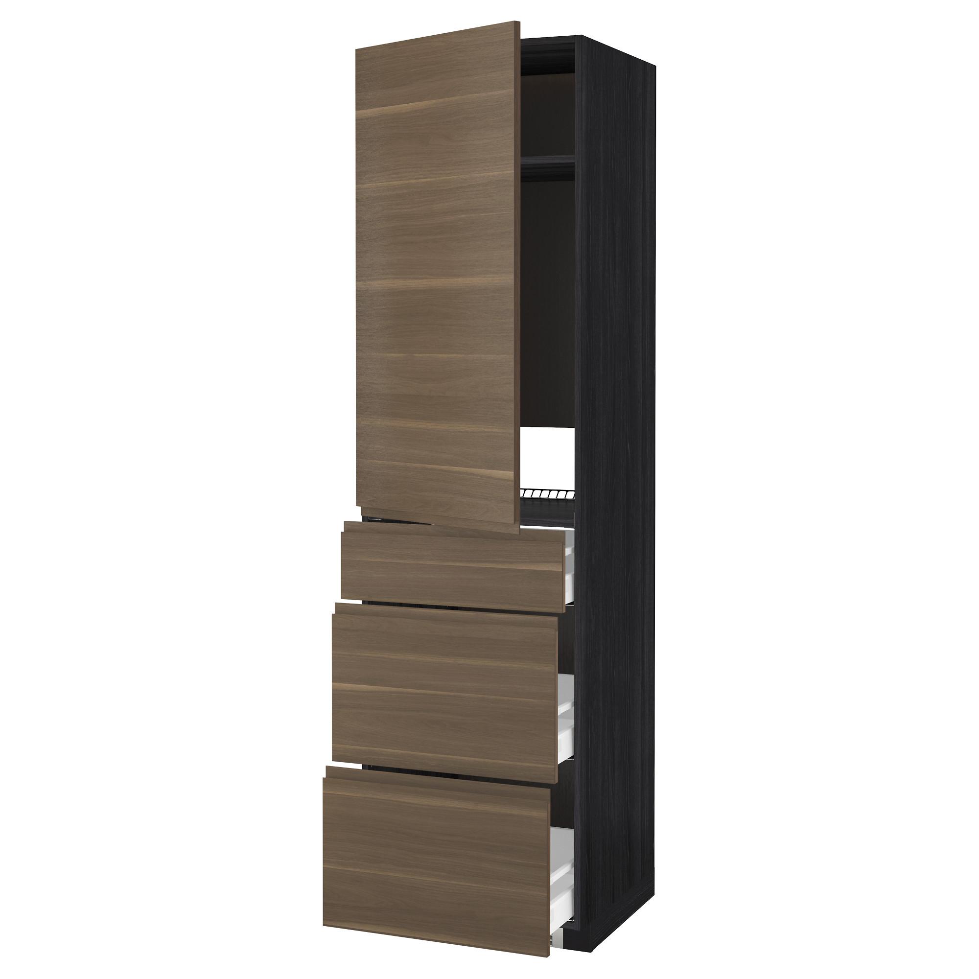 Высокий шкаф для холодильника, с дверцами, 3 ящика МЕТОД / МАКСИМЕРА черный артикуль № 592.390.71 в наличии. Онлайн каталог ИКЕА РБ. Недорогая доставка и монтаж.