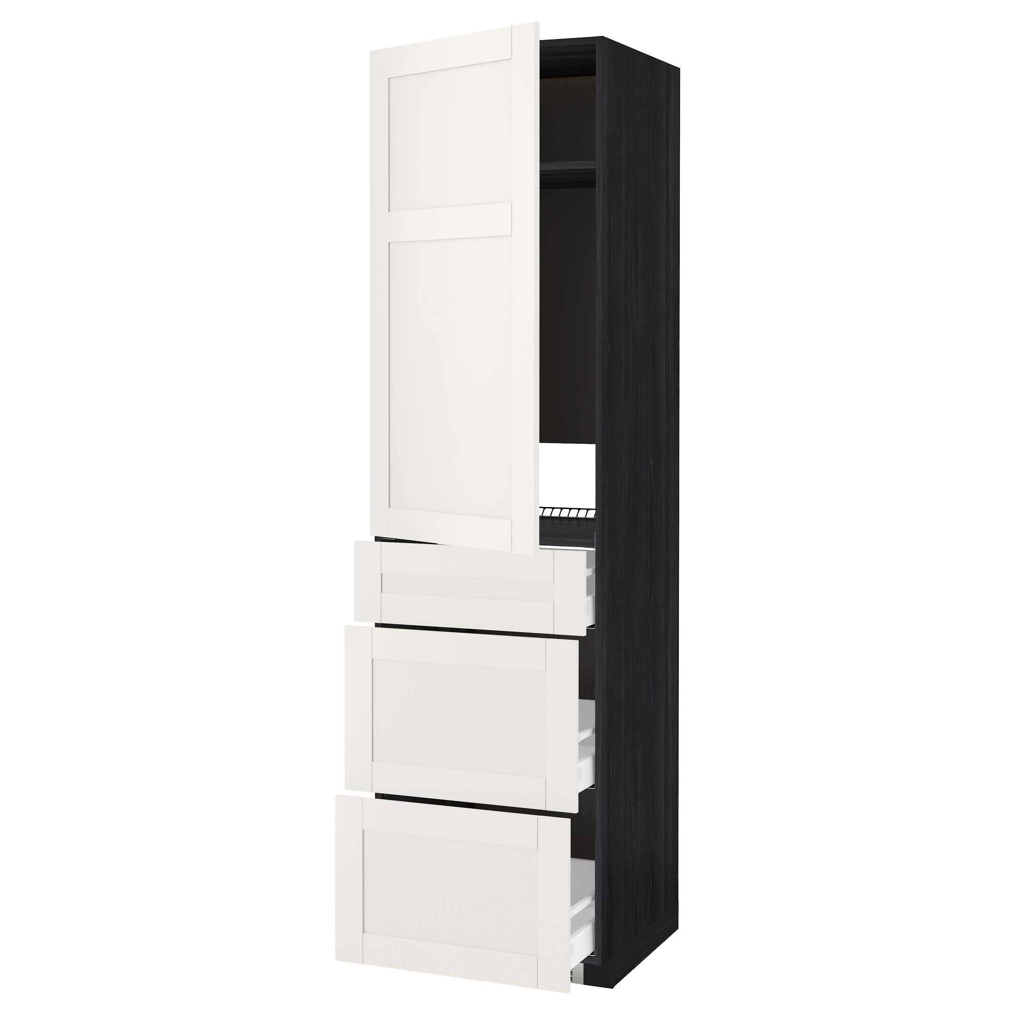 Высокий шкаф для холодильника, с дверцами, 3 ящика МЕТОД / МАКСИМЕРА черный артикуль № 692.390.75 в наличии. Онлайн магазин IKEA Беларусь. Быстрая доставка и монтаж.