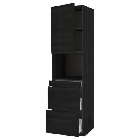 Высокий шкаф для СВЧ/дверца, 3 ящика МЕТОД / ФОРВАРА черный артикуль № 092.674.53 в наличии. Online сайт IKEA Минск. Недорогая доставка и монтаж.