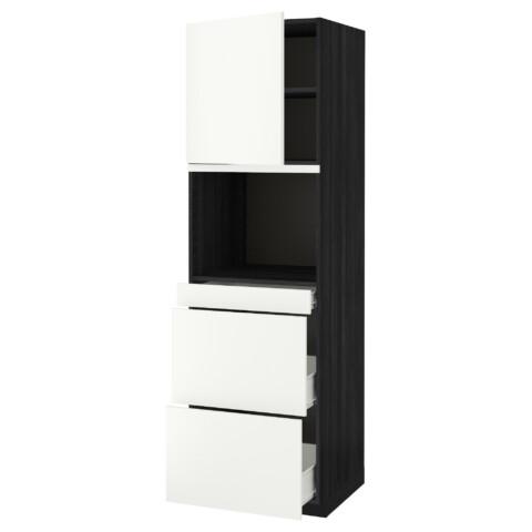 Высокий шкаф для СВЧ/дверца, 3 ящика МЕТОД / ФОРВАРА черный артикуль № 192.621.29 в наличии. Online сайт IKEA Минск. Недорогая доставка и соборка.