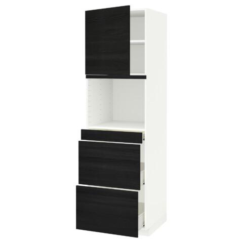 Высокий шкаф для СВЧ/дверца, 3 ящика МЕТОД / ФОРВАРА черный артикуль № 292.674.52 в наличии. Интернет каталог IKEA Беларусь. Недорогая доставка и установка.