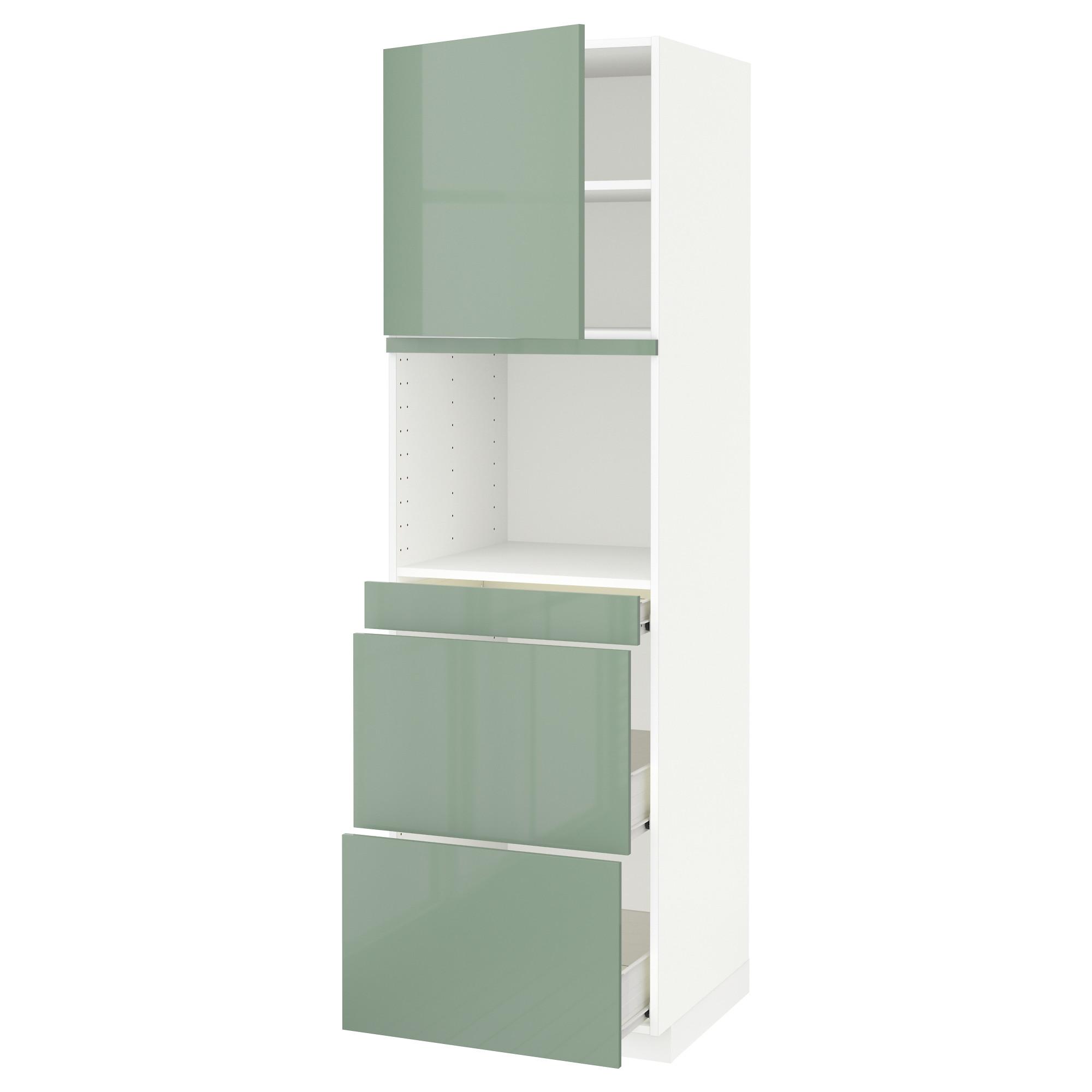 Высокий шкаф для СВЧ/дверца, 3 ящика МЕТОД / ФОРВАРА светло-зеленый артикуль № 492.664.23 в наличии. Онлайн каталог IKEA Беларусь. Быстрая доставка и соборка.