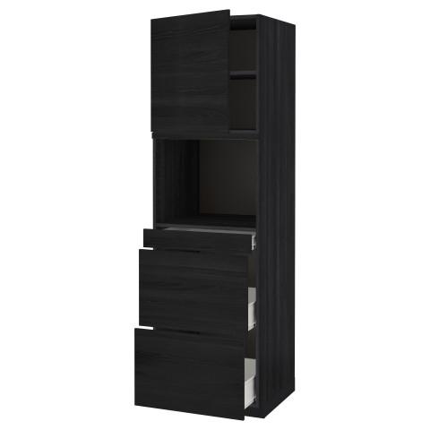 Высокий шкаф для СВЧ/дверца, 3 ящика МЕТОД / ФОРВАРА черный артикуль № 492.674.51 в наличии. Интернет магазин ИКЕА РБ. Быстрая доставка и установка.