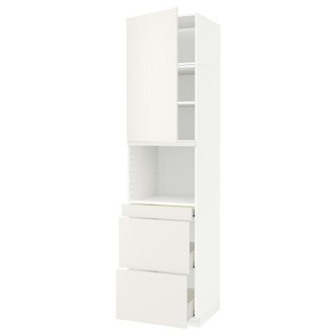 Высокий шкаф для СВЧ/дверца, 3 ящика МЕТОД / ФОРВАРА белый артикуль № 692.647.91 в наличии. Онлайн магазин ИКЕА РБ. Быстрая доставка и установка.