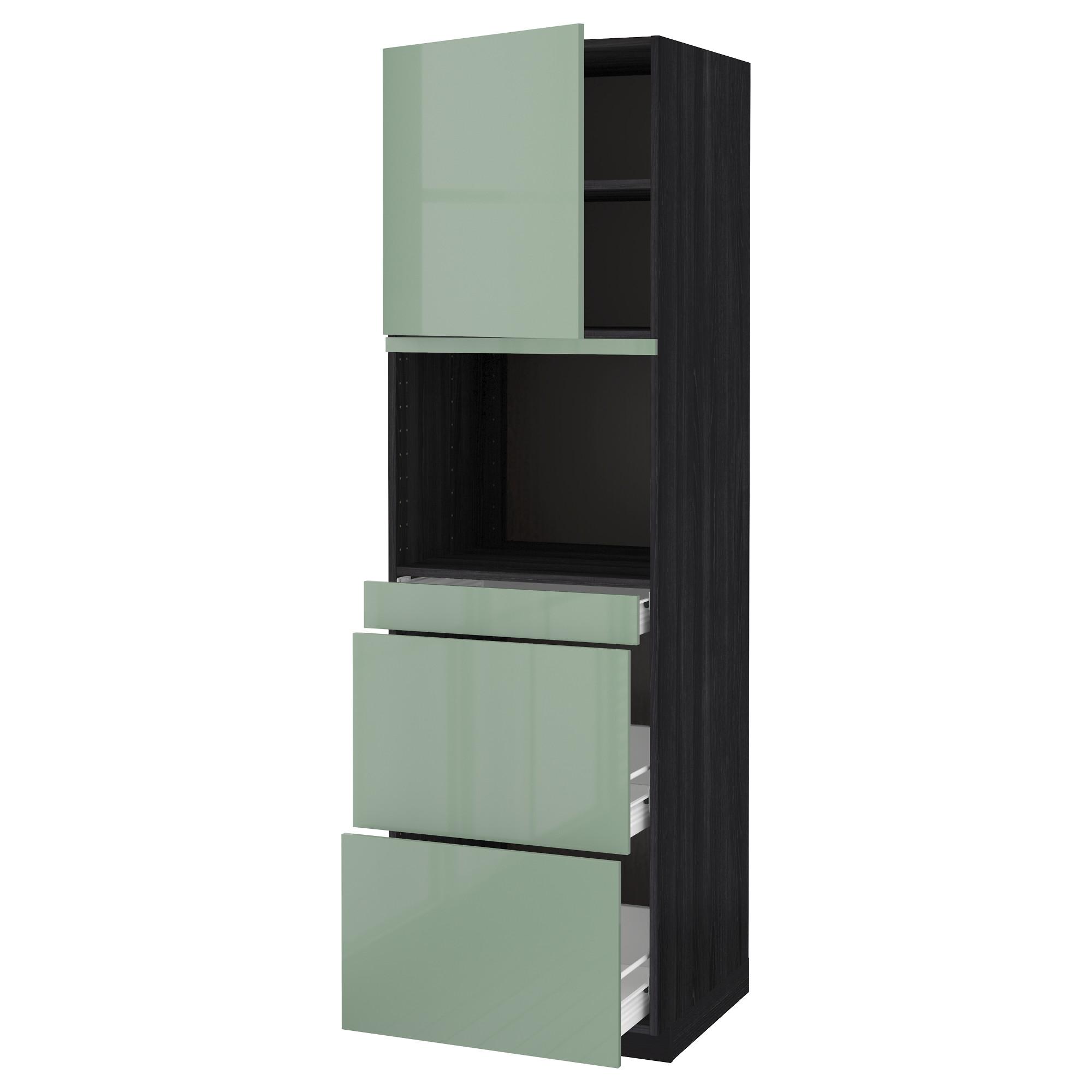 Высокий шкаф для СВЧ/дверца, 3 ящика МЕТОД / ФОРВАРА черный артикуль № 692.664.22 в наличии. Online магазин IKEA Минск. Быстрая доставка и установка.