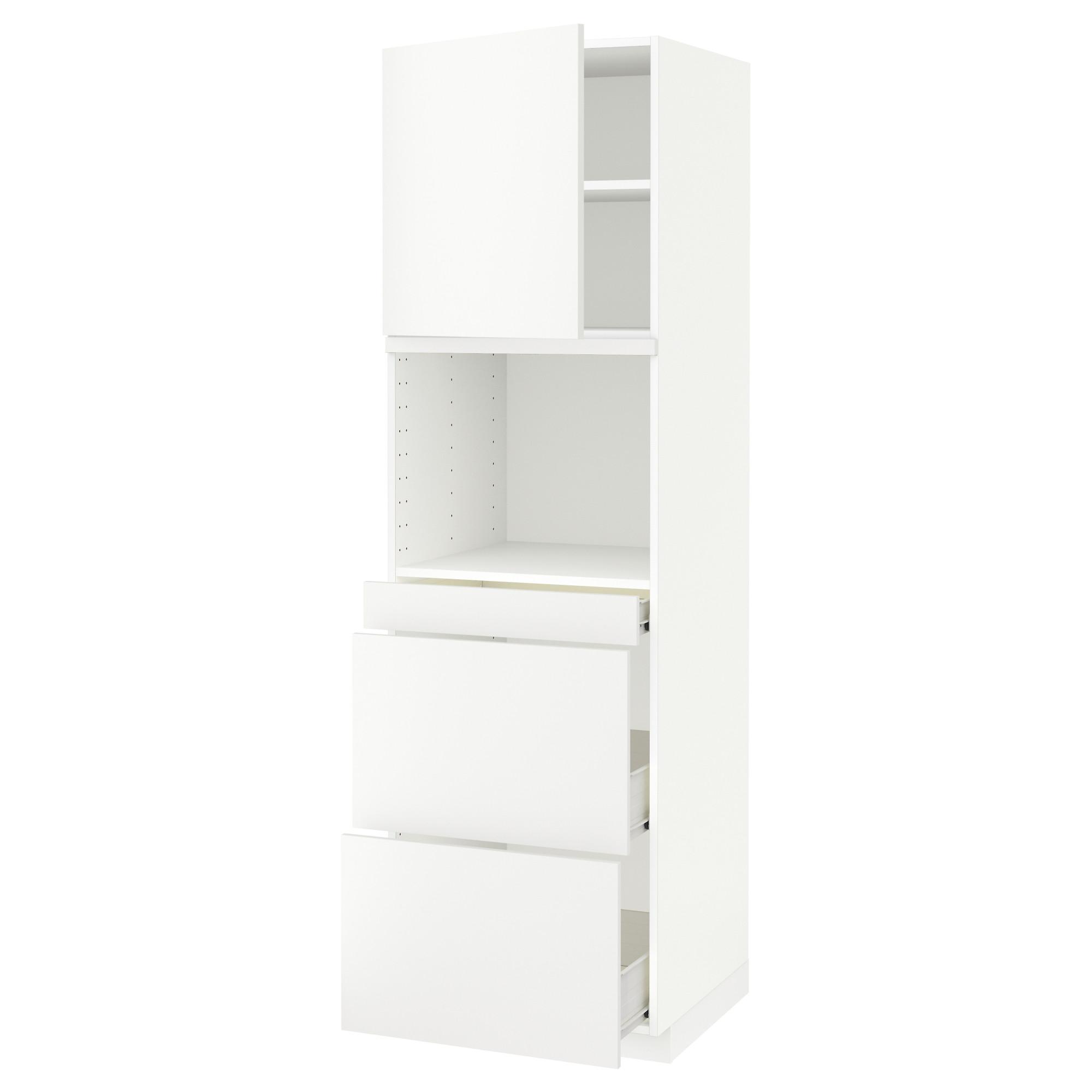 Высокий шкаф для СВЧ/дверца, 3 ящика МЕТОД / ФОРВАРА белый артикуль № 992.621.30 в наличии. Интернет каталог IKEA Минск. Быстрая доставка и установка.