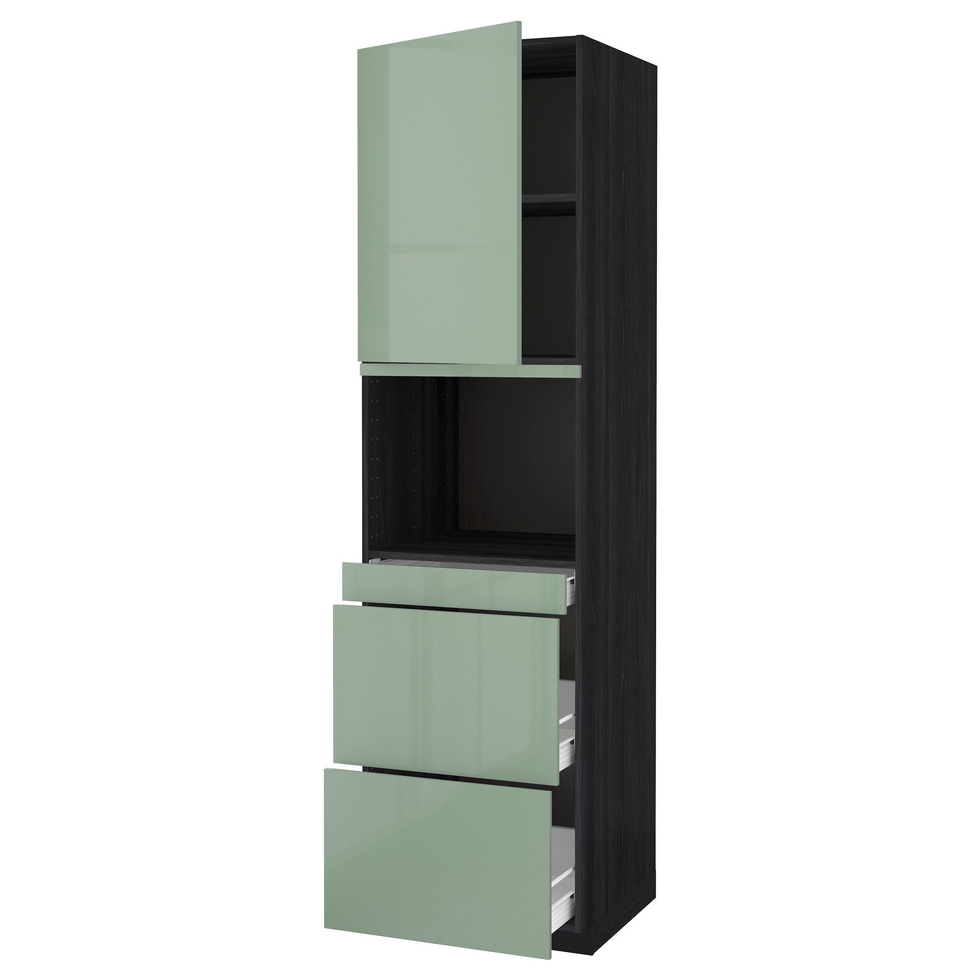 Высокий шкаф для СВЧ/дверца, 3 ящика МЕТОД / ФОРВАРА черный артикуль № 992.664.25 в наличии. Онлайн сайт IKEA Минск. Быстрая доставка и монтаж.