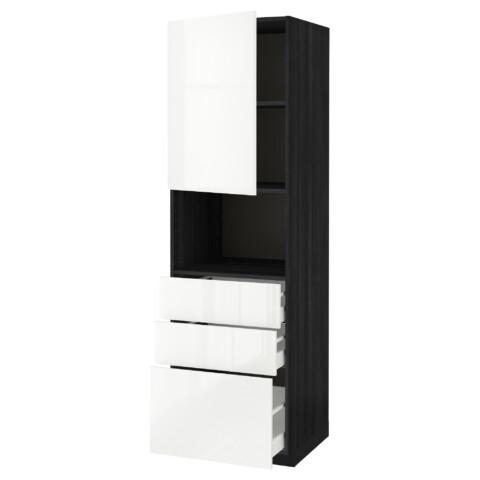 Высокий шкаф для/СВЧ+дверца/3 ящика МЕТОД / МАКСИМЕРА черный артикуль № 992.372.25 в наличии. Онлайн сайт IKEA Республика Беларусь. Недорогая доставка и соборка.