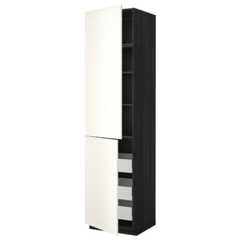 Высокий шкаф + полки, 3 ящика, 2 дверцы МЕТОД / ФОРВАРА черный артикуль № 192.647.55 в наличии. Интернет сайт IKEA Республика Беларусь. Недорогая доставка и установка.