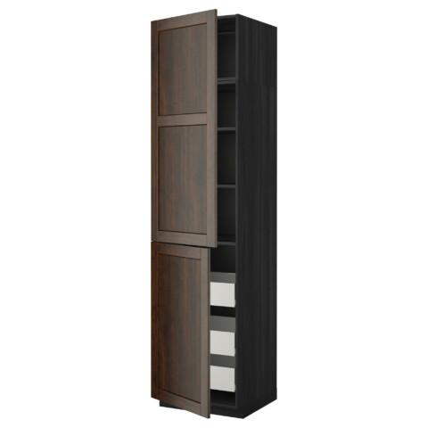 Высокий шкаф + полки, 3 ящика, 2 дверцы МЕТОД / ФОРВАРА черный артикуль № 292.618.17 в наличии. Онлайн сайт IKEA РБ. Недорогая доставка и монтаж.