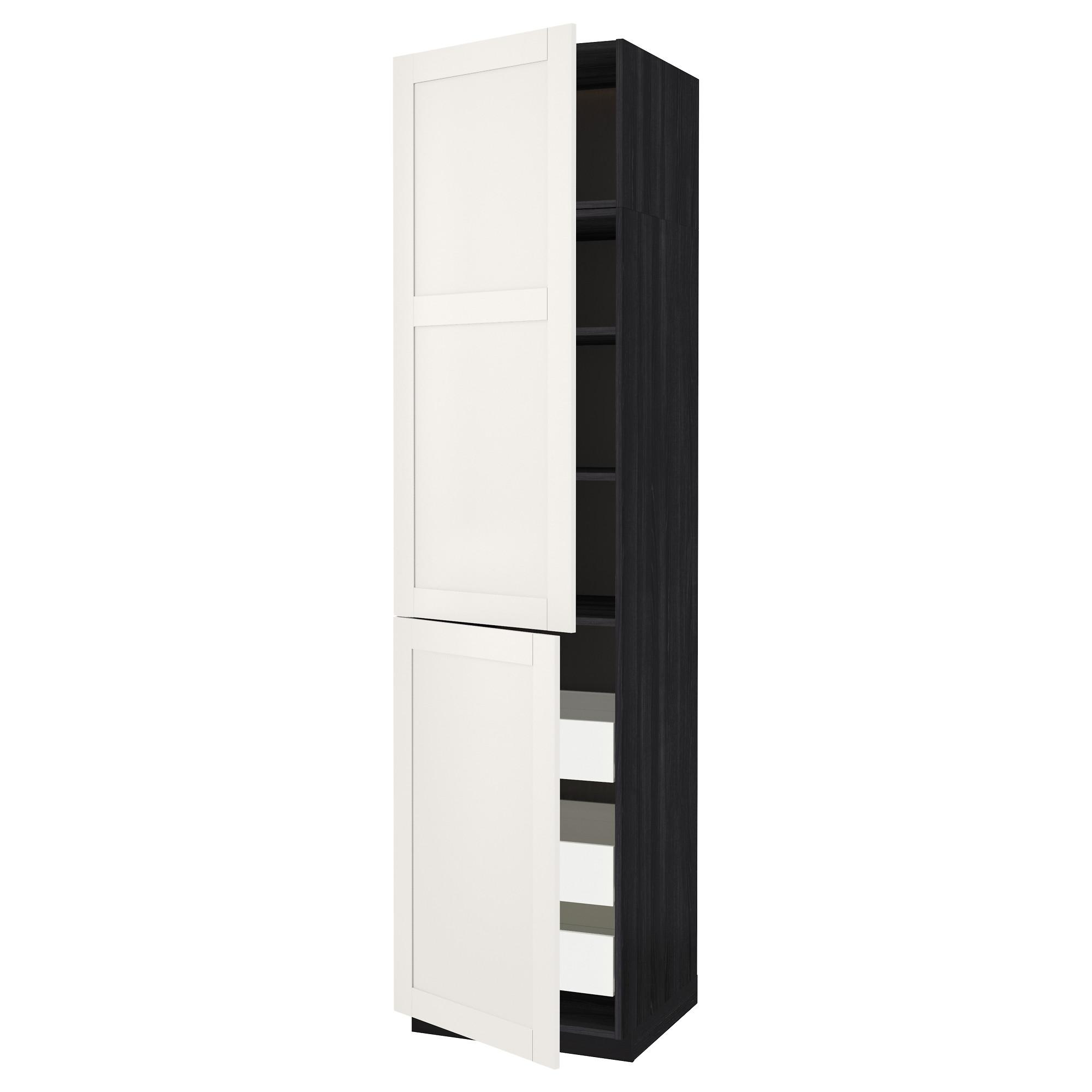 Высокий шкаф + полки, 3 ящика, 2 дверцы МЕТОД / ФОРВАРА черный артикуль № 392.658.05 в наличии. Интернет магазин IKEA Беларусь. Быстрая доставка и монтаж.