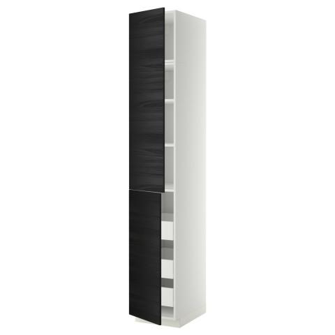 Высокий шкаф + полки, 3 ящика, 2 дверцы МЕТОД / ФОРВАРА черный артикуль № 392.674.18 в наличии. Онлайн магазин IKEA РБ. Недорогая доставка и установка.