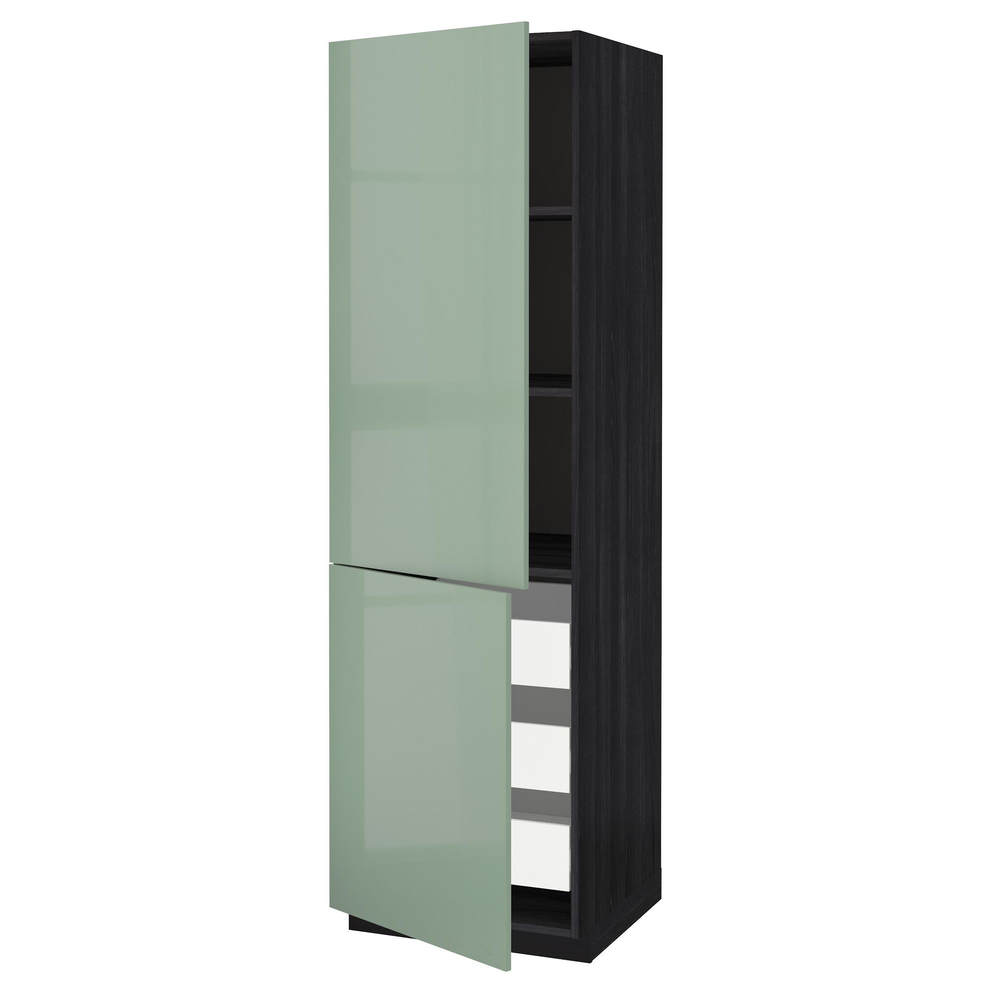 Высокий шкаф + полки, 3 ящика, 2 дверцы МЕТОД / ФОРВАРА черный артикуль № 692.657.81 в наличии. Онлайн сайт IKEA РБ. Недорогая доставка и установка.