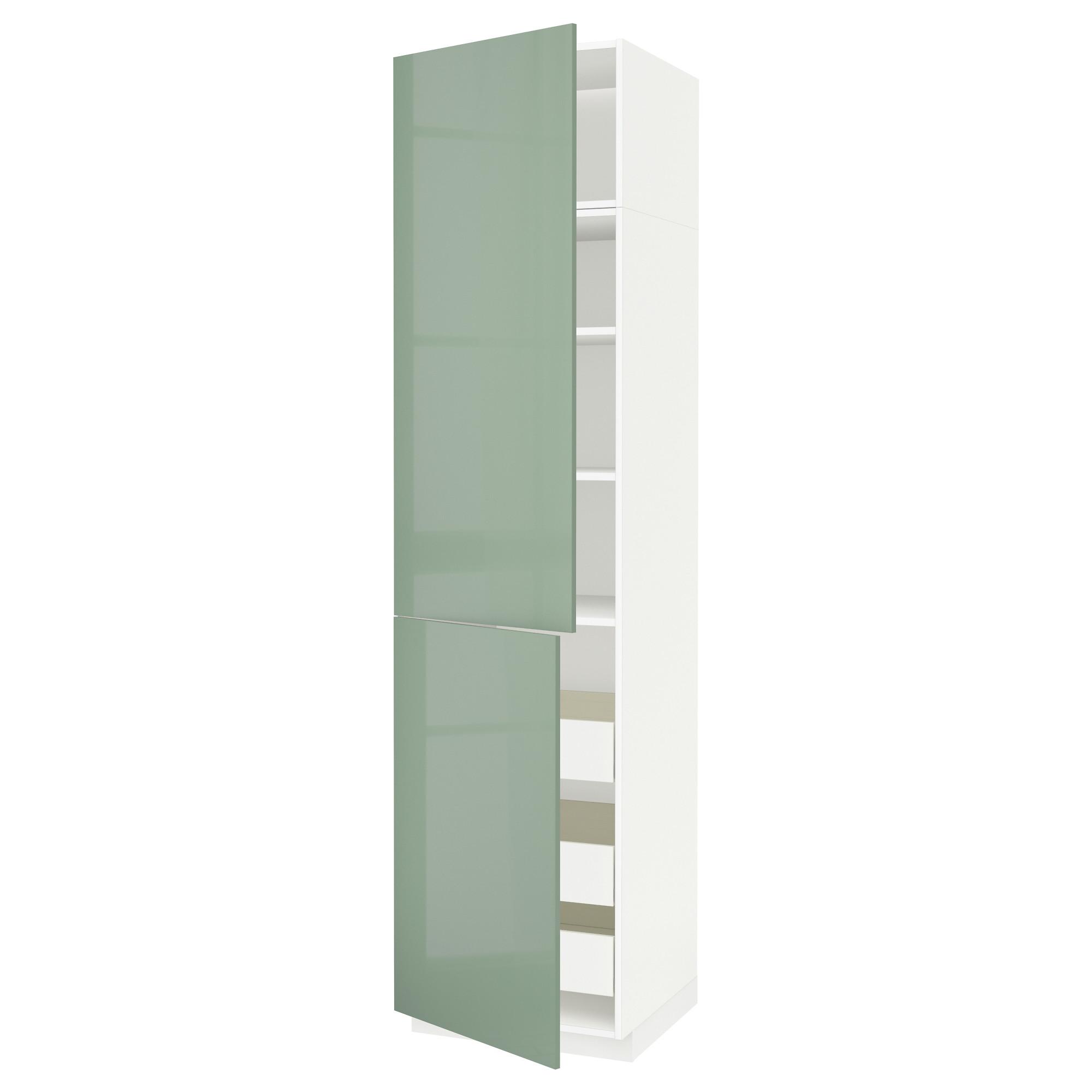 Высокий шкаф + полки, 3 ящика, 2 дверцы МЕТОД / ФОРВАРА светло-зеленый артикуль № 792.658.08 в наличии. Интернет сайт IKEA РБ. Быстрая доставка и установка.