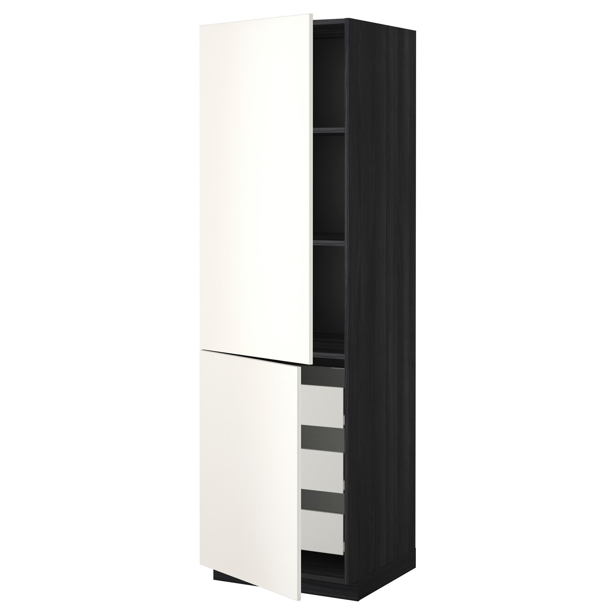 Высокий шкаф + полки, 3 ящика, 2 дверцы МЕТОД / ФОРВАРА черный артикуль № 892.647.47 в наличии. Онлайн сайт IKEA Минск. Недорогая доставка и установка.