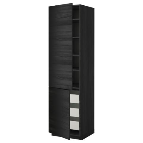 Высокий шкаф + полки, 3 ящика, 2 дверцы МЕТОД / ФОРВАРА черный артикуль № 992.674.15 в наличии. Интернет каталог IKEA Минск. Быстрая доставка и монтаж.