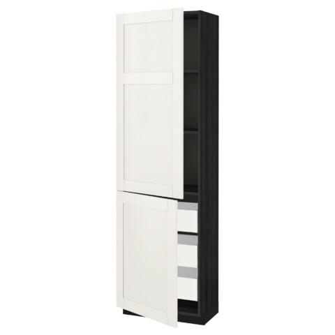 Высокий шкаф + полки, 3 ящика, 2 дверцы МЕТОД / МАКСИМЕРА черный артикуль № 992.389.46 в наличии. Online сайт IKEA РБ. Быстрая доставка и монтаж.