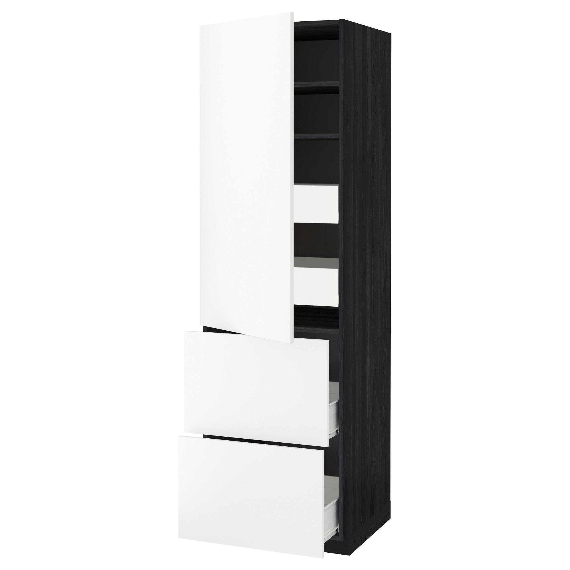 Высокий шкаф + полки, 4 ящика, 2 дверцы МЕТОД / ФОРВАРА черный артикуль № 092.621.01 в наличии. Онлайн сайт ИКЕА РБ. Недорогая доставка и монтаж.
