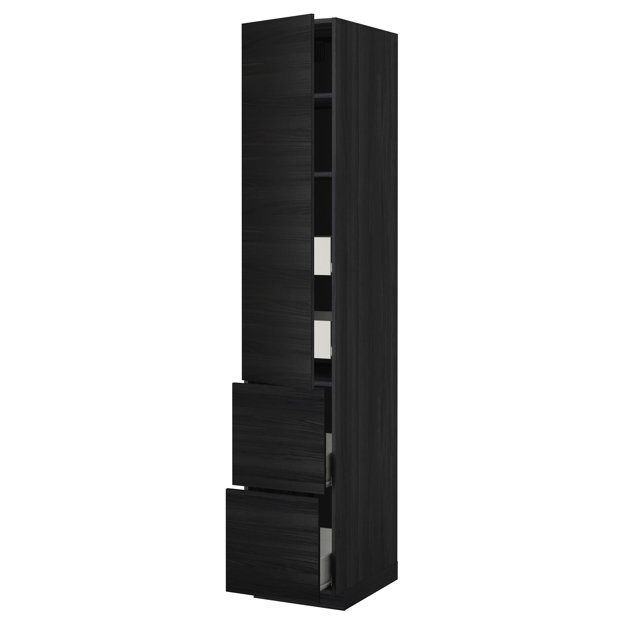 Высокий шкаф + полки, 4 ящика, 2 дверцы МЕТОД / ФОРВАРА черный артикуль № 592.674.03 в наличии. Онлайн каталог IKEA РБ. Недорогая доставка и монтаж.