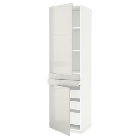 Высокий шкаф + полки, 5 ящиков, 2 дверцы, 2 фронтальных МЕТОД / МАКСИМЕРА светло-серый артикуль № 092.364.66 в наличии. Интернет магазин IKEA Беларусь. Быстрая доставка и соборка.
