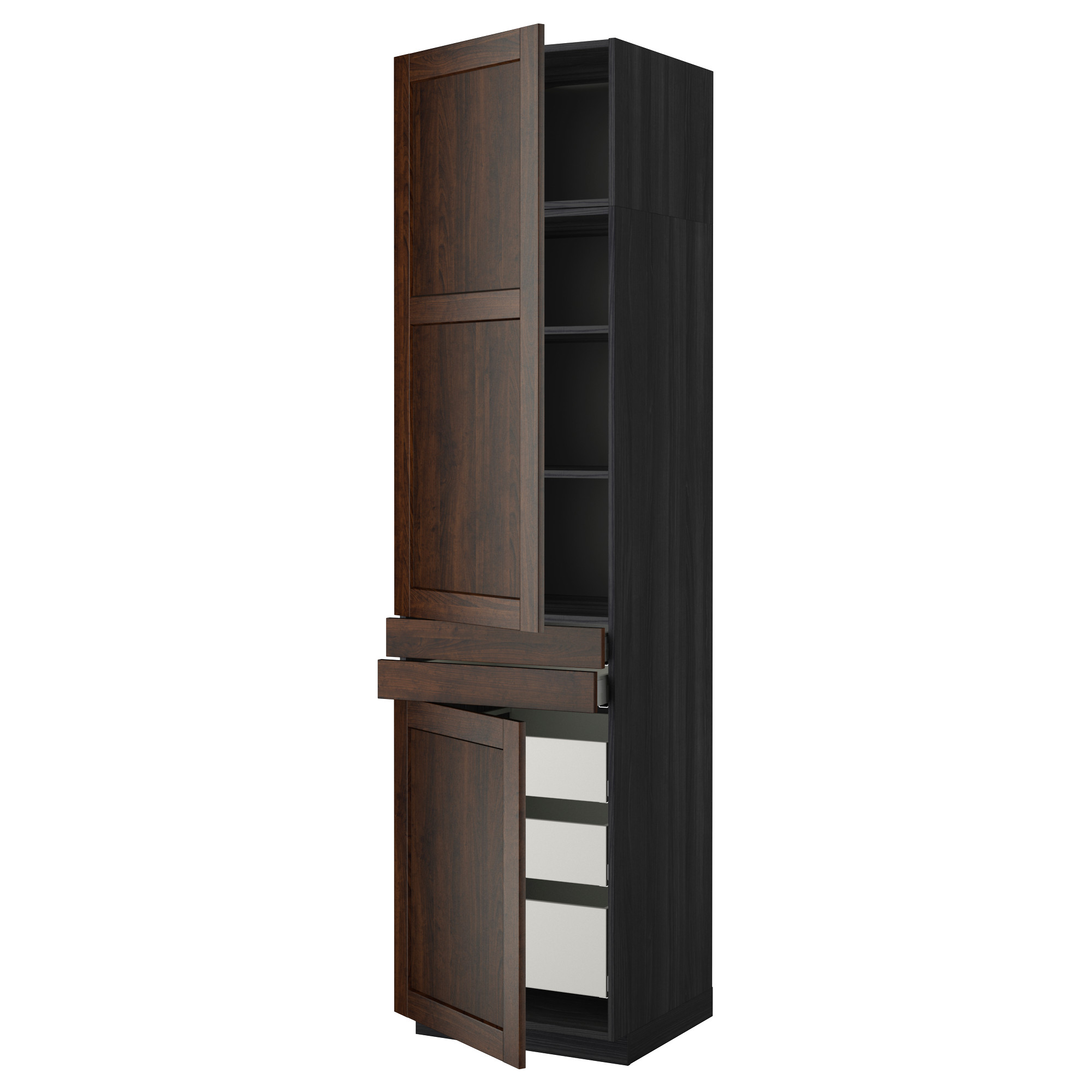 Высокий шкаф + полки, 5 ящиков, 2 дверцы, 2 фронтальных МЕТОД / МАКСИМЕРА черный артикуль № 092.369.18 в наличии. Онлайн магазин IKEA Республика Беларусь. Быстрая доставка и соборка.