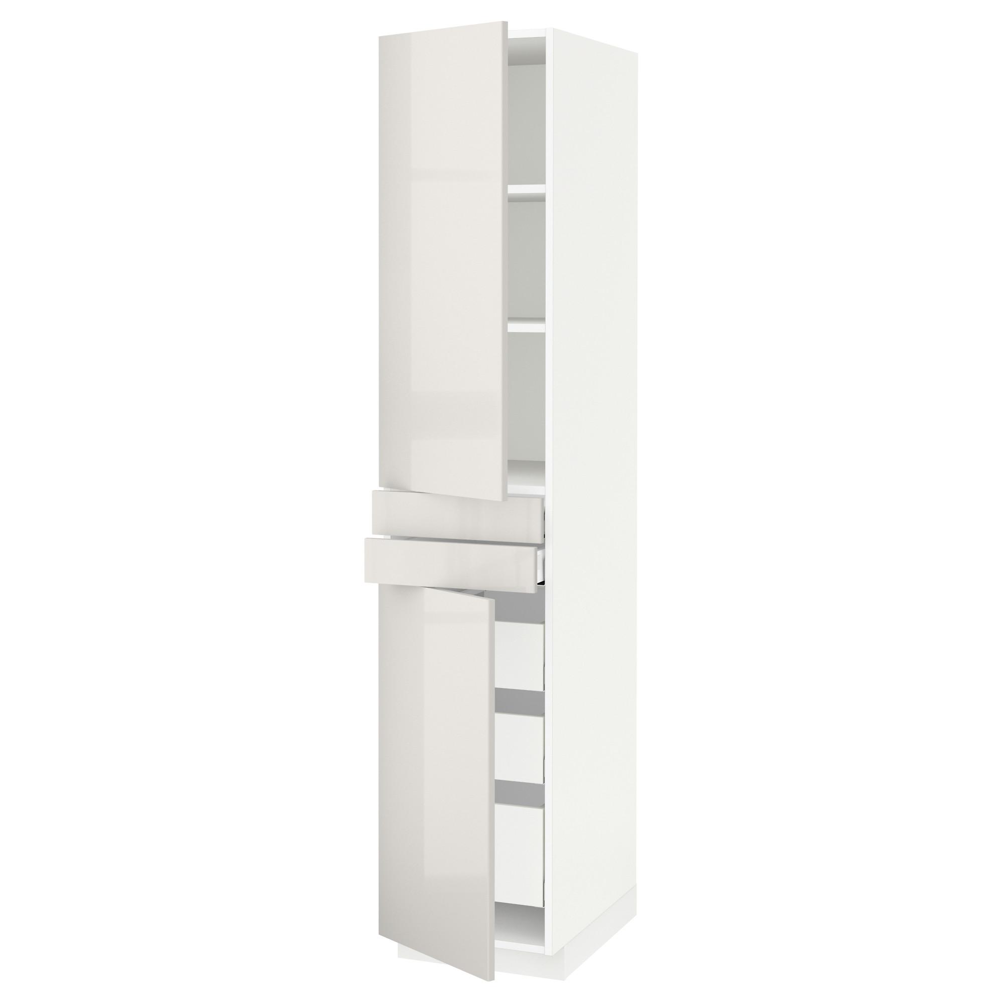 Высокий шкаф + полки, 5 ящиков, 2 дверцы, 2 фронтальных МЕТОД / МАКСИМЕРА светло-серый артикуль № 192.363.76 в наличии. Интернет магазин IKEA Минск. Быстрая доставка и установка.