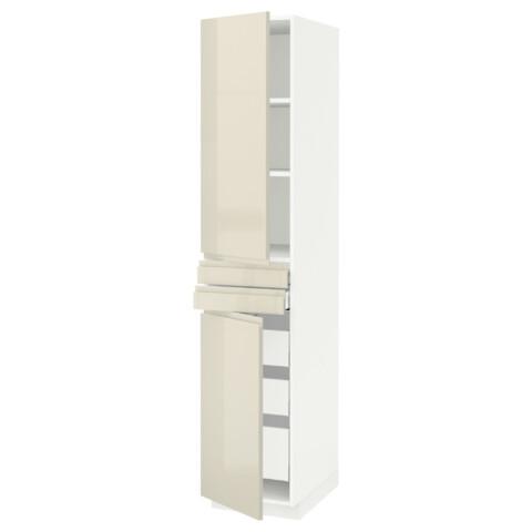 Высокий шкаф + полки, 5 ящиков, 2 дверцы, 2 фронтальных МЕТОД / МАКСИМЕРА белый артикуль № 292.389.21 в наличии. Онлайн магазин IKEA РБ. Недорогая доставка и установка.