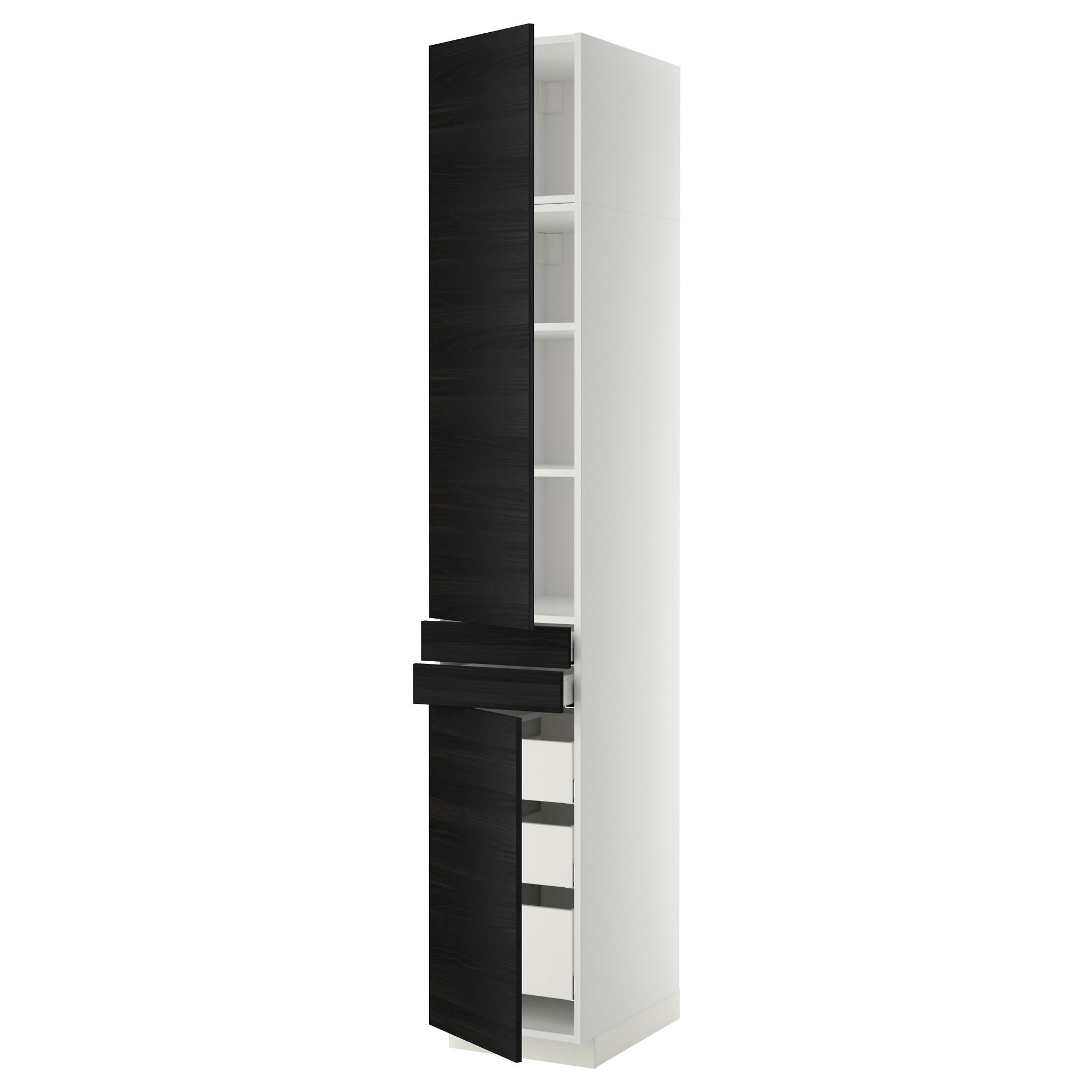 Высокий шкаф + полки, 5 ящиков, 2 дверцы, 2 фронтальных МЕТОД / МАКСИМЕРА черный артикуль № 392.364.79 в наличии. Онлайн магазин IKEA Беларусь. Недорогая доставка и монтаж.