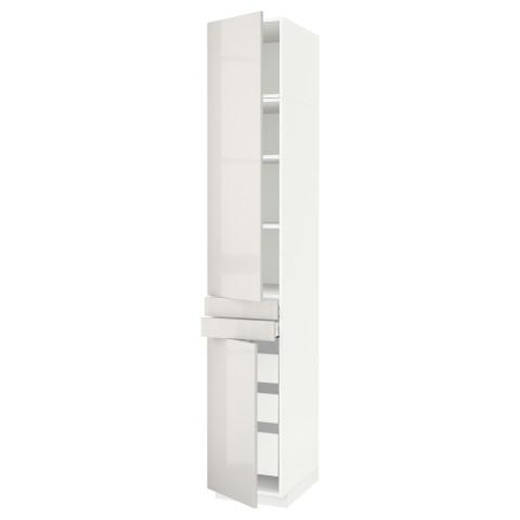 Высокий шкаф + полки, 5 ящиков, 2 дверцы, 2 фронтальных МЕТОД / МАКСИМЕРА светло-серый артикуль № 492.364.74 в наличии. Онлайн каталог IKEA РБ. Быстрая доставка и соборка.