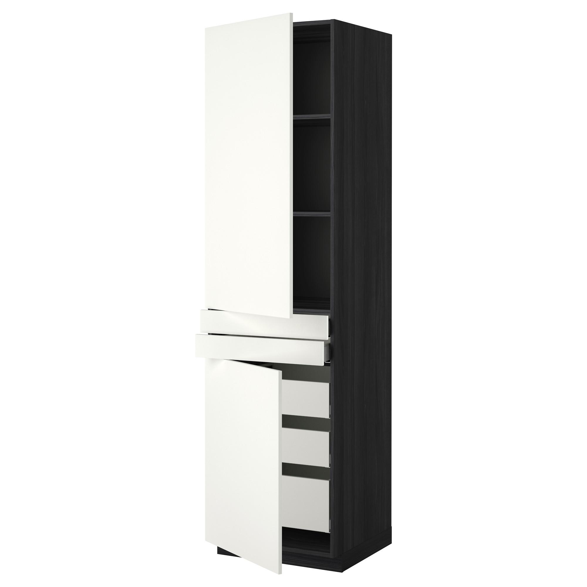 Высокий шкаф + полки, 5 ящиков, 2 дверцы, 2 фронтальных МЕТОД / МАКСИМЕРА черный артикуль № 592.315.84 в наличии. Online сайт IKEA Минск. Быстрая доставка и установка.