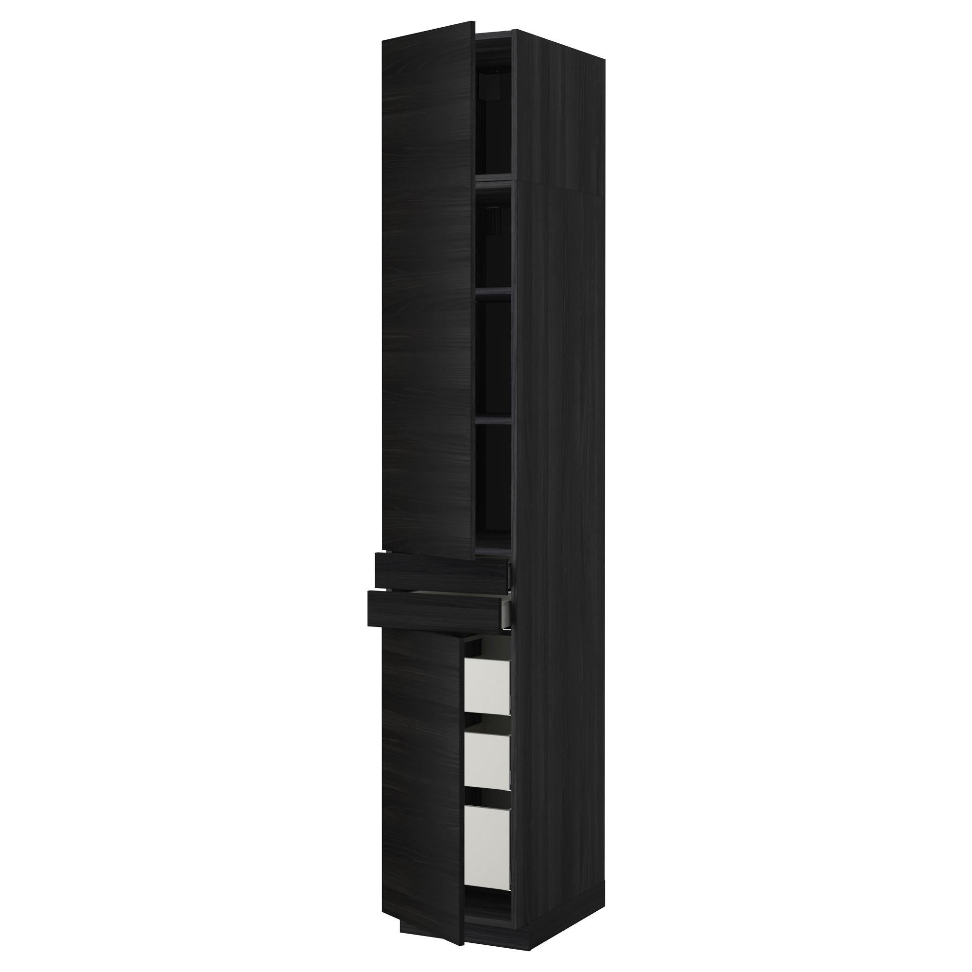 Высокий шкаф + полки, 5 ящиков, 2 дверцы, 2 фронтальных МЕТОД / МАКСИМЕРА черный артикуль № 592.364.78 в наличии. Онлайн магазин IKEA Беларусь. Недорогая доставка и монтаж.
