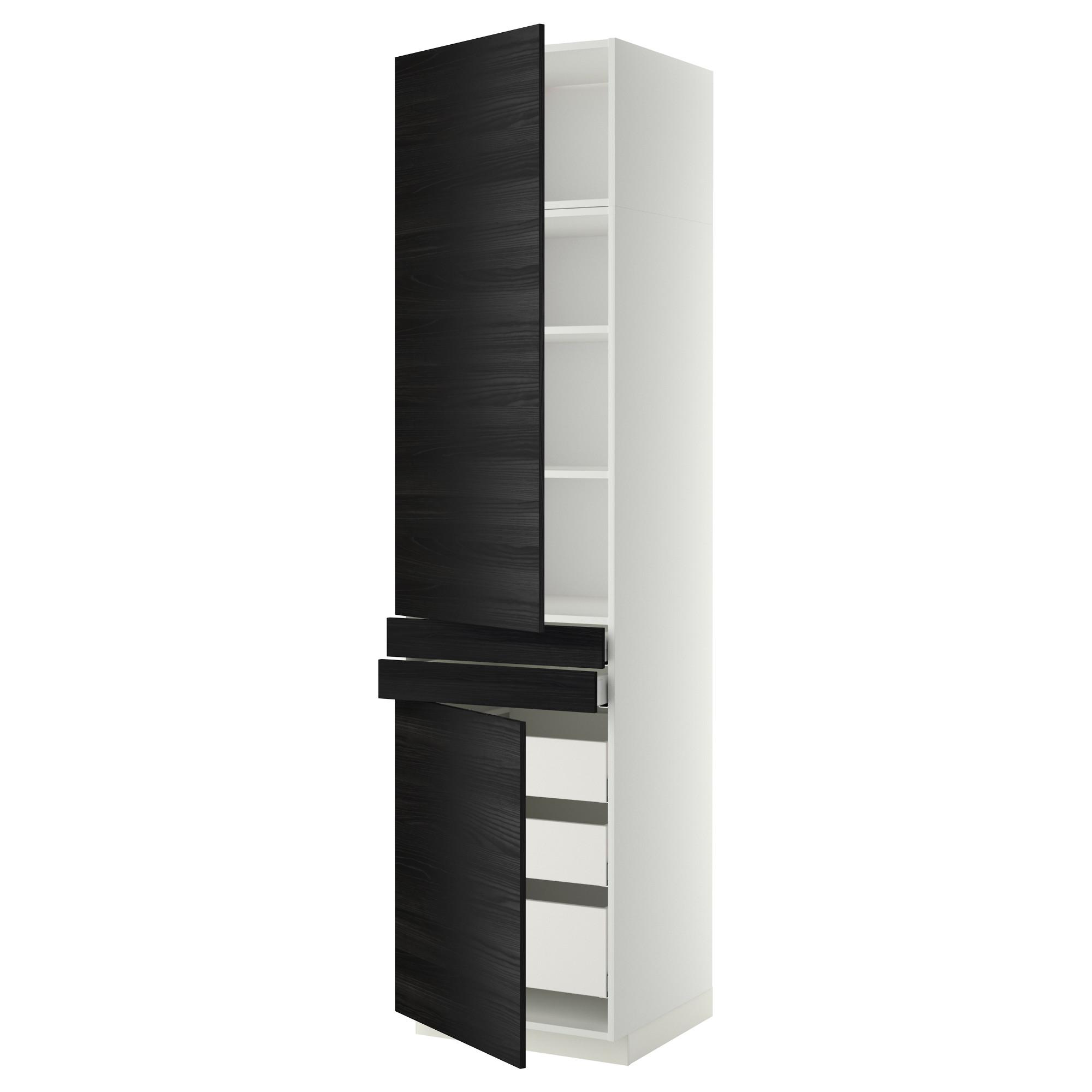 Высокий шкаф + полки, 5 ящиков, 2 дверцы, 2 фронтальных МЕТОД / МАКСИМЕРА черный артикуль № 692.364.87 в наличии. Online сайт IKEA Минск. Быстрая доставка и монтаж.