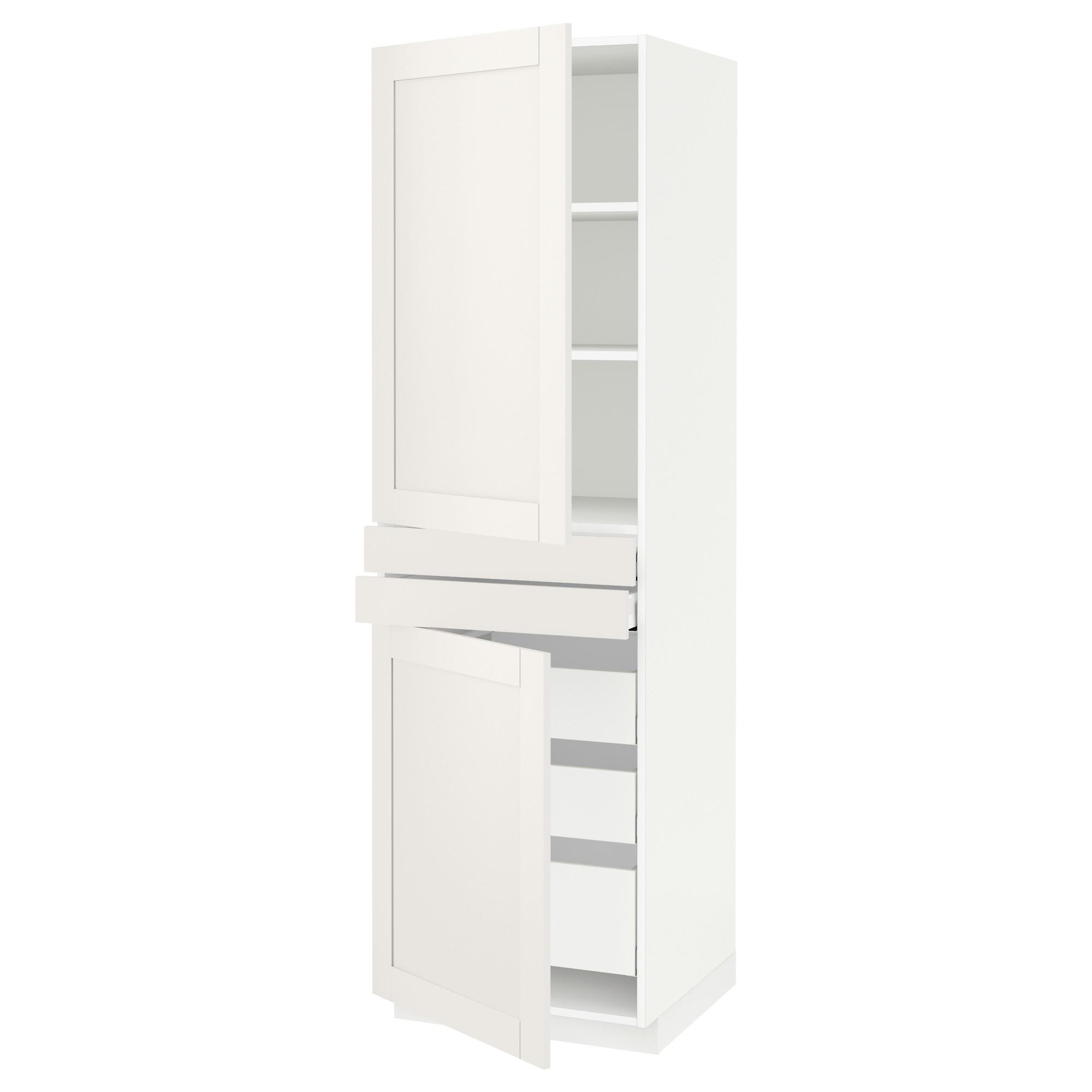 Высокий шкаф + полки, 5 ящиков, 2 дверцы, 2 фронтальных МЕТОД / МАКСИМЕРА белый артикуль № 792.389.33 в наличии. Онлайн сайт ИКЕА РБ. Недорогая доставка и монтаж.